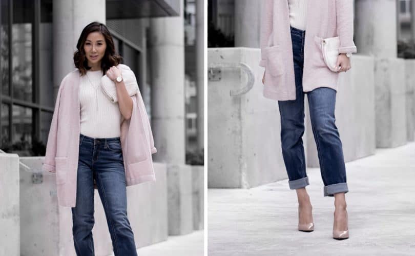 Casual fall look with rolled up straight leg denim, pink cardigan sweater and nude pumps