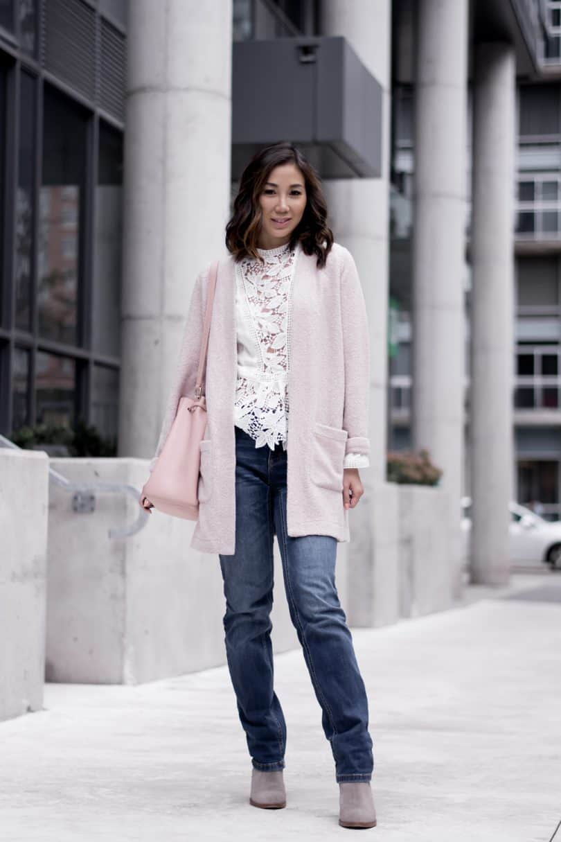 Easy brunch look for the weekend. Straight leg denim, boots, lace top, pink cardigan