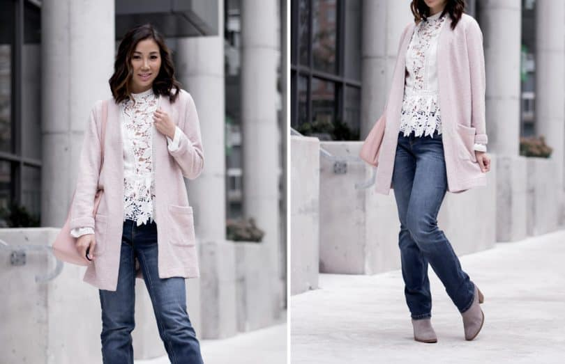 Casual look for brunch: straight leg denim, lace shirt, long pink cardigan, grey boots