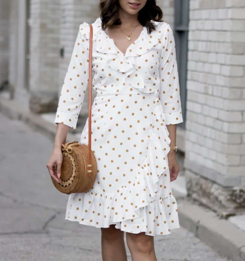 Summer Streetstyle: OOTD with white polka dot dress and white sneakers