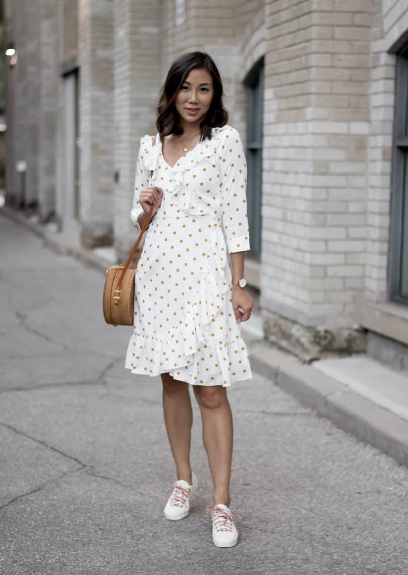 #OOTD: white dress & white sneakers, eshakti, keds #styleblogger