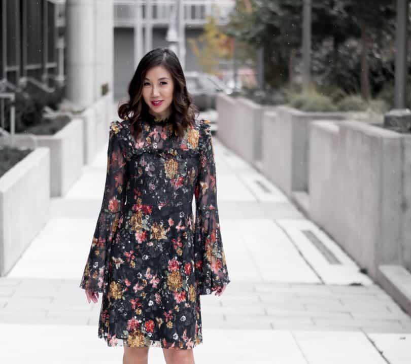 Lace & floral dress OOTD