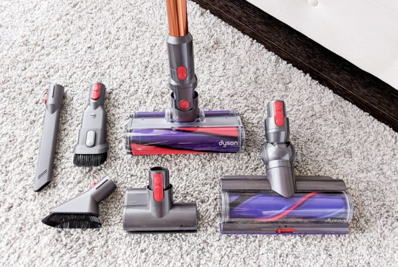Dyson Cyclone V10 has many attachments so you can clean any surface