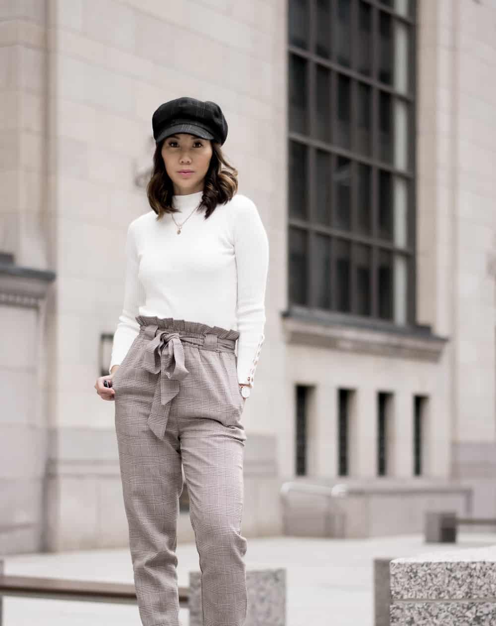 #OOTD look - plaid pants, white sweater newsboy cap, downtown Toronto