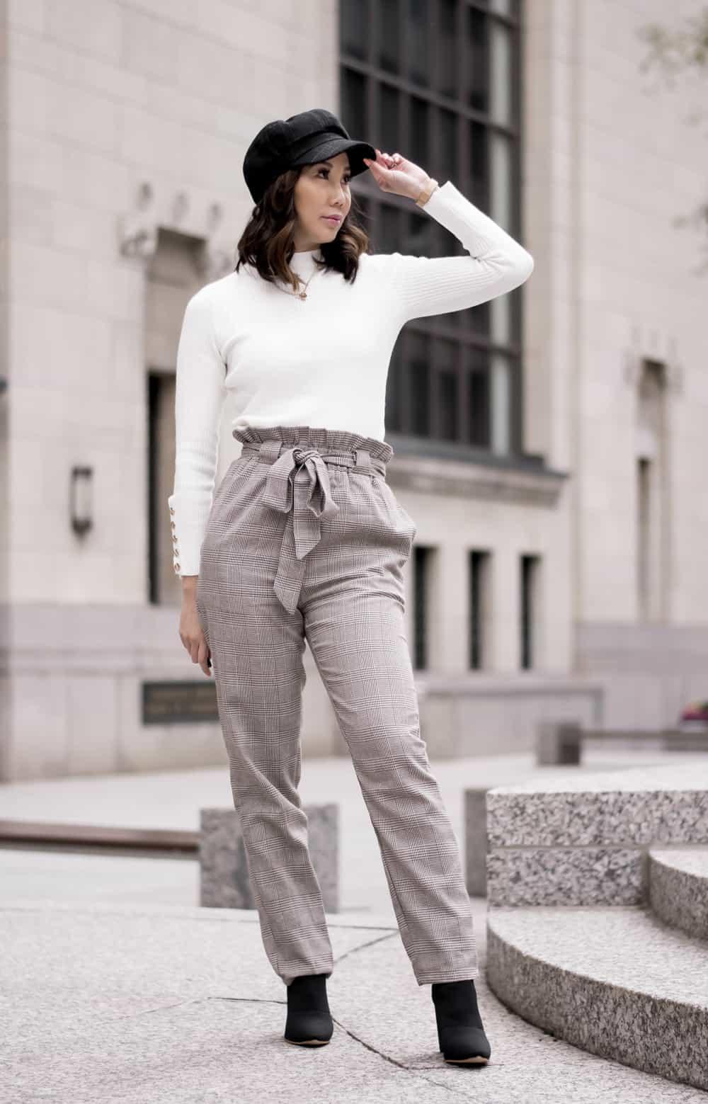 Winter OOTD: newsboy cap, drawstring plaid pants, white sweater. Fashion blogger Yesmissy