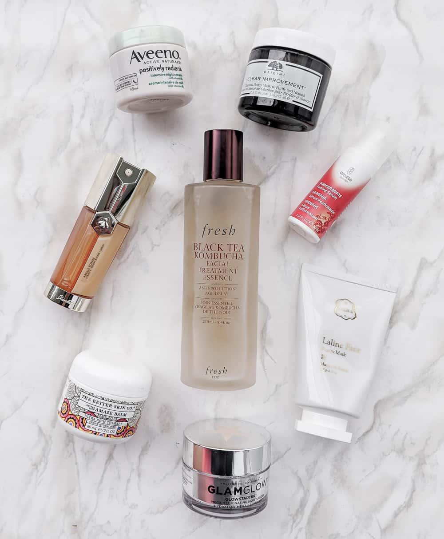 Skincare favorites from Fresh, Guerlain, Aveeno, Origins, Laline, Glamglow, Better Skin Co.
