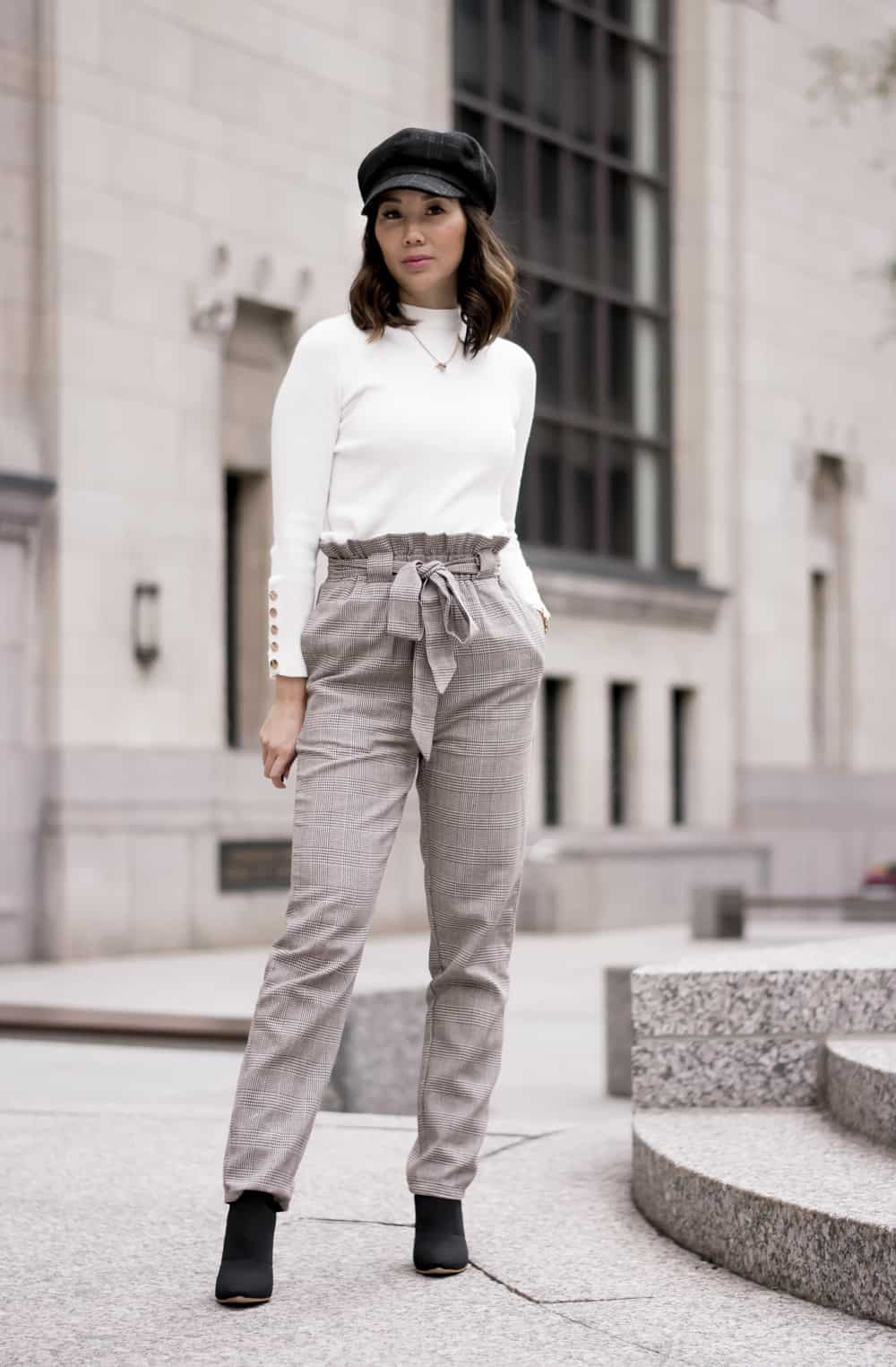 Fall Streetstyle: Fashion Blogger YesMissy - checkered pants and white sweater