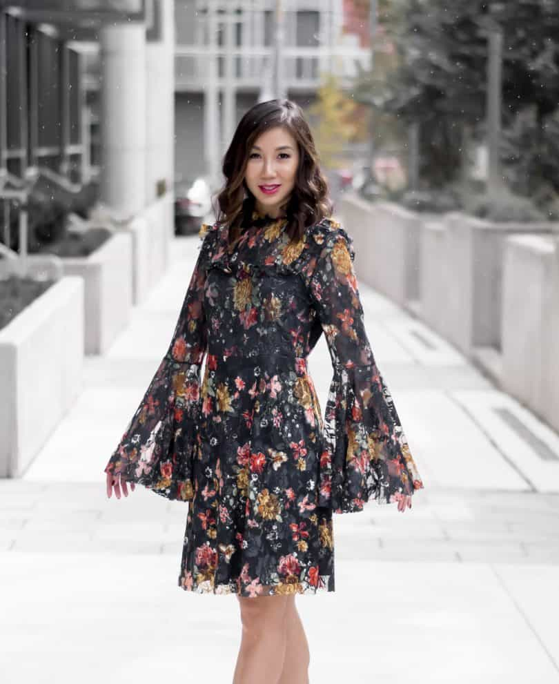 OOTD: Lace and floral dress with bell sleeves from...