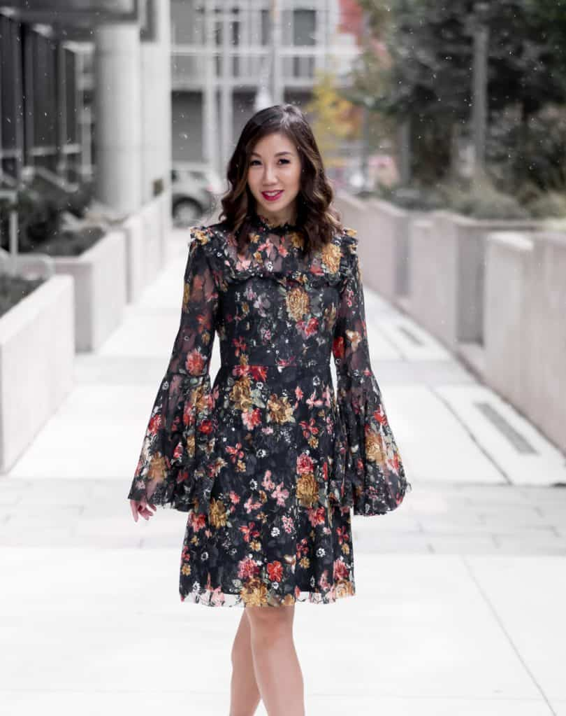 Party Dress - Lace and floral bell sleeve dress