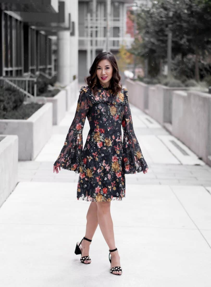 A floral look: lace dress with bell sleeves... Toronto Style Blogger YesMissy