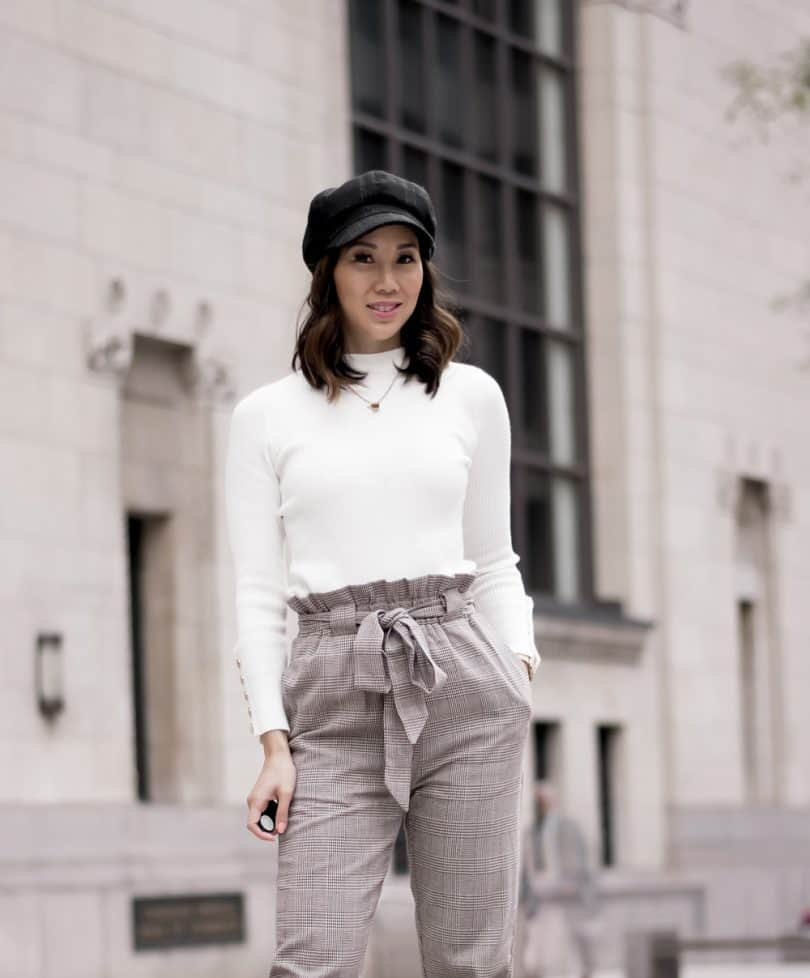 Toronto style blogger YesMissy - Plaid drawstring pants, cream sweater, newsboy cap