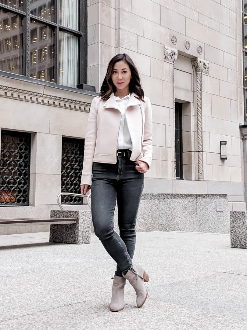 Casual denim look with pink bomber - style blogger YesMissy.com