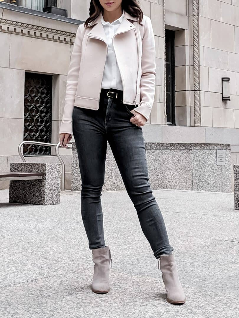 Casual fall look with pink bomber and denim