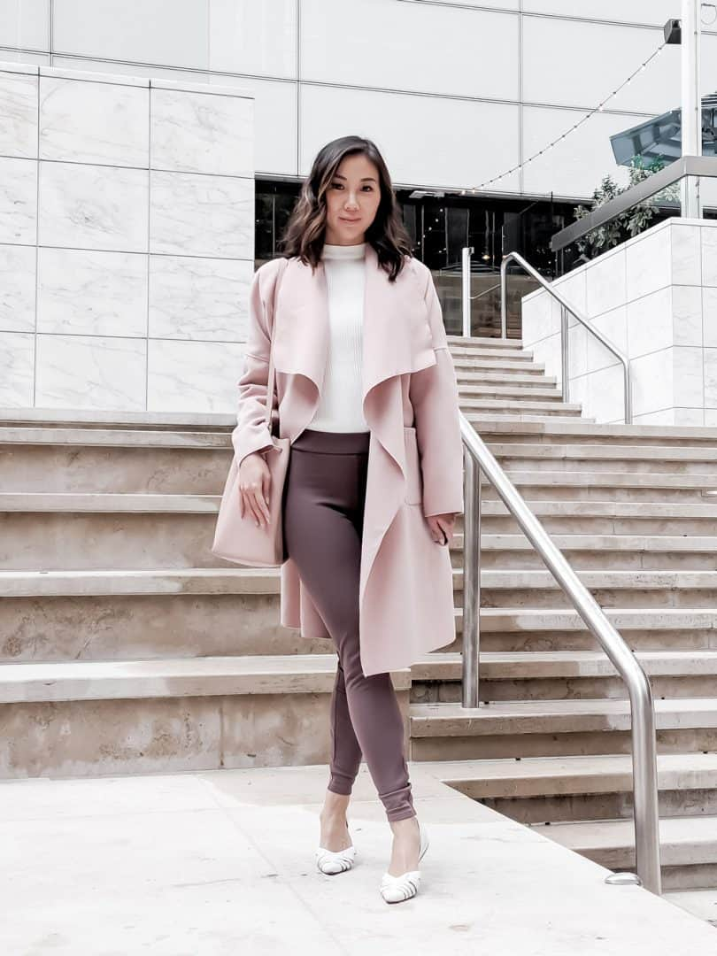 Toronto Style Blogger - YesMissy, Fall / Winter layered look with pink waterfall coat, white sweater