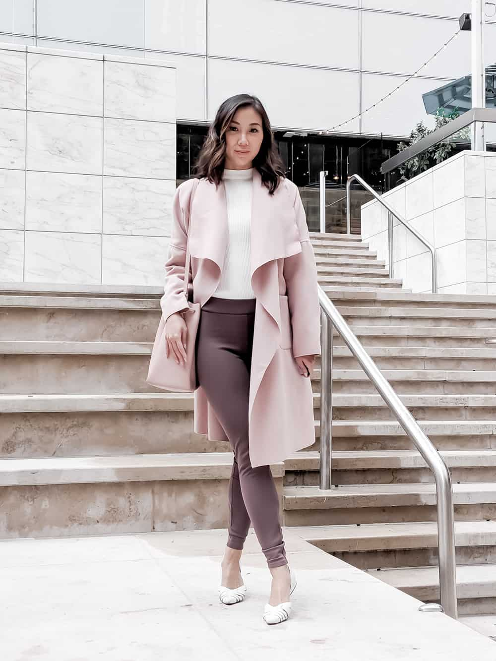 Toronto Style Blogger - YesMissy, Fall / Winter layered look with pink waterfall coat, white sweater le