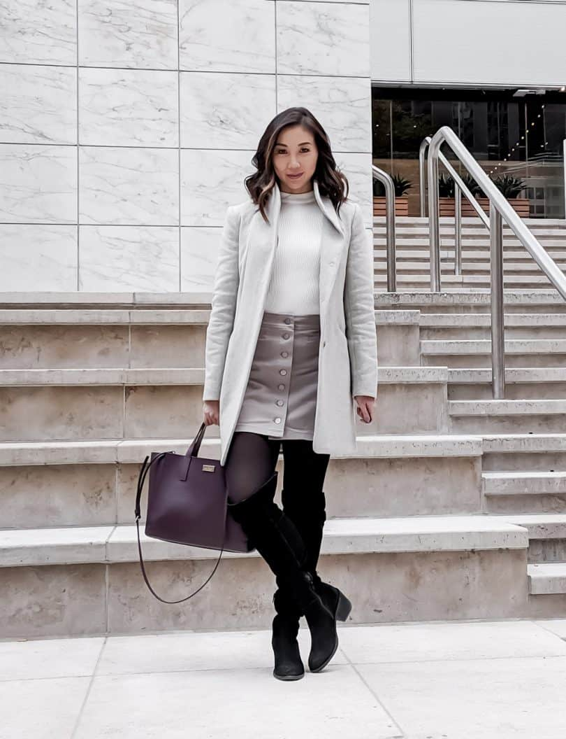 Fall OOTD: Casual look in grey with button up skirt and wool coat from Aritzia