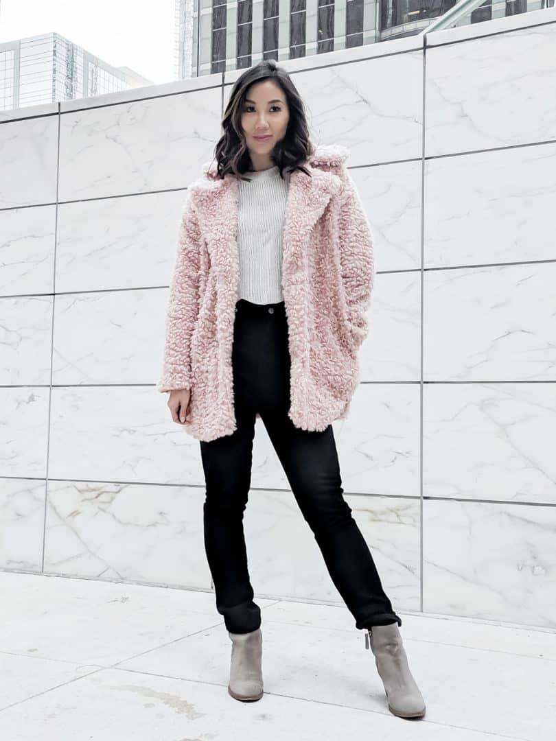 Pink teddy jacket - Fall OOTD
