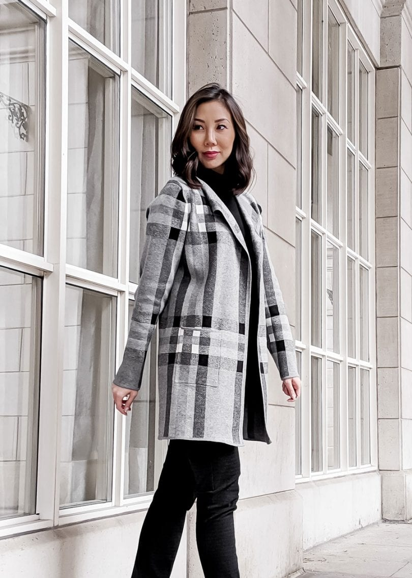 Winter lookbook - Checkered Cardigan - Canadian style blogger