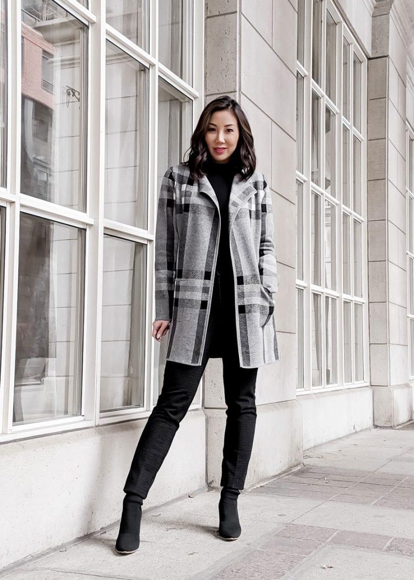 #OOTD - Checker cardigan Alison Sheri - Canadian style blogger YesMissy