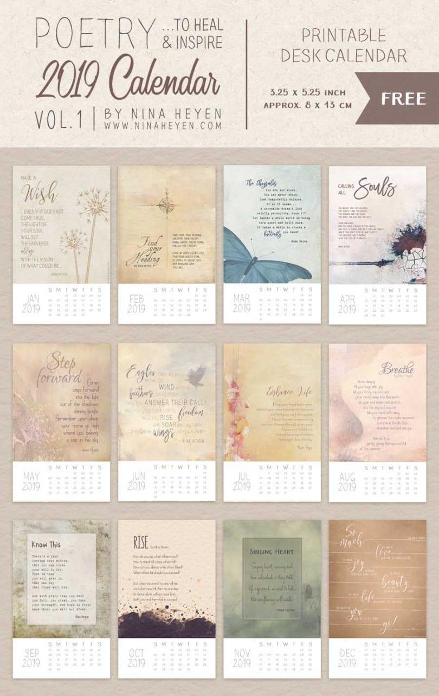 2019 Poetry Calendar Printable