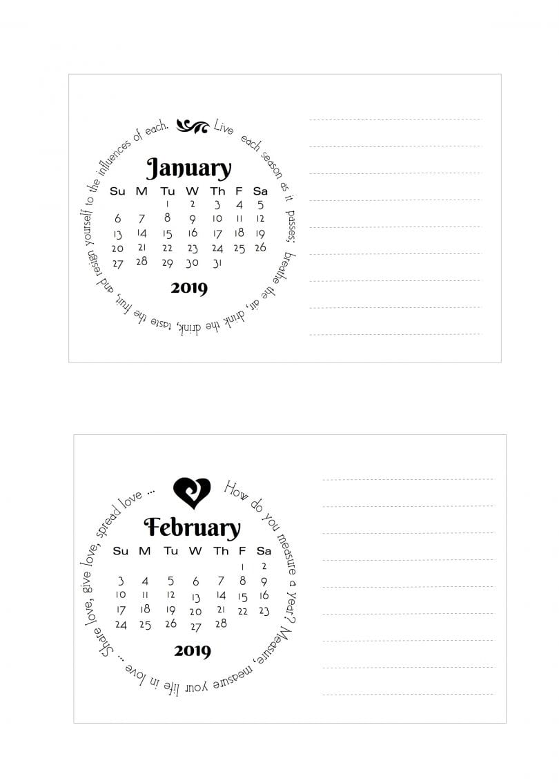 Free Printable 2019 Notecard Calendar