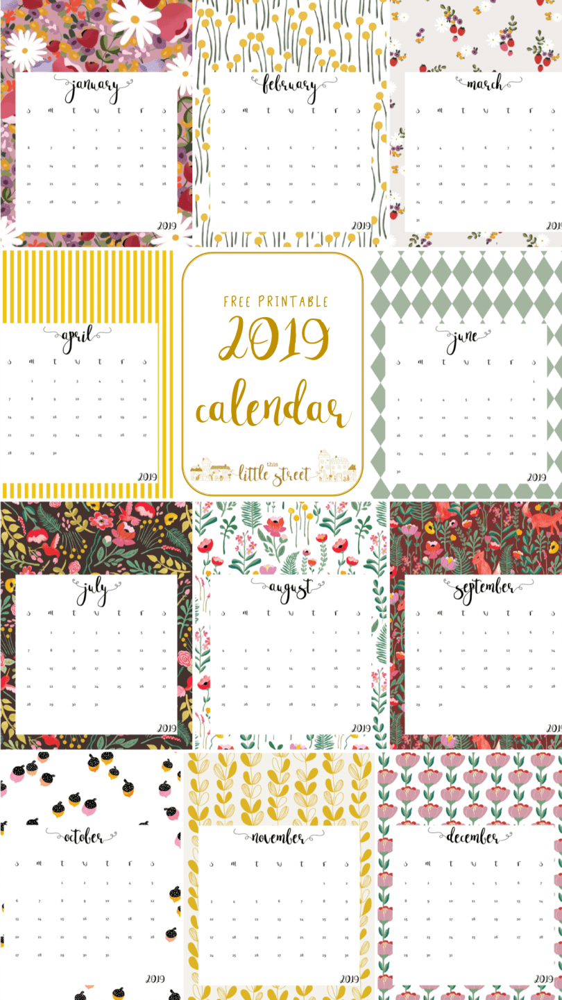 picture about Printable Calendar Cute referred to as 20 Cost-free Printable Calendars for 2019 - YesMissy