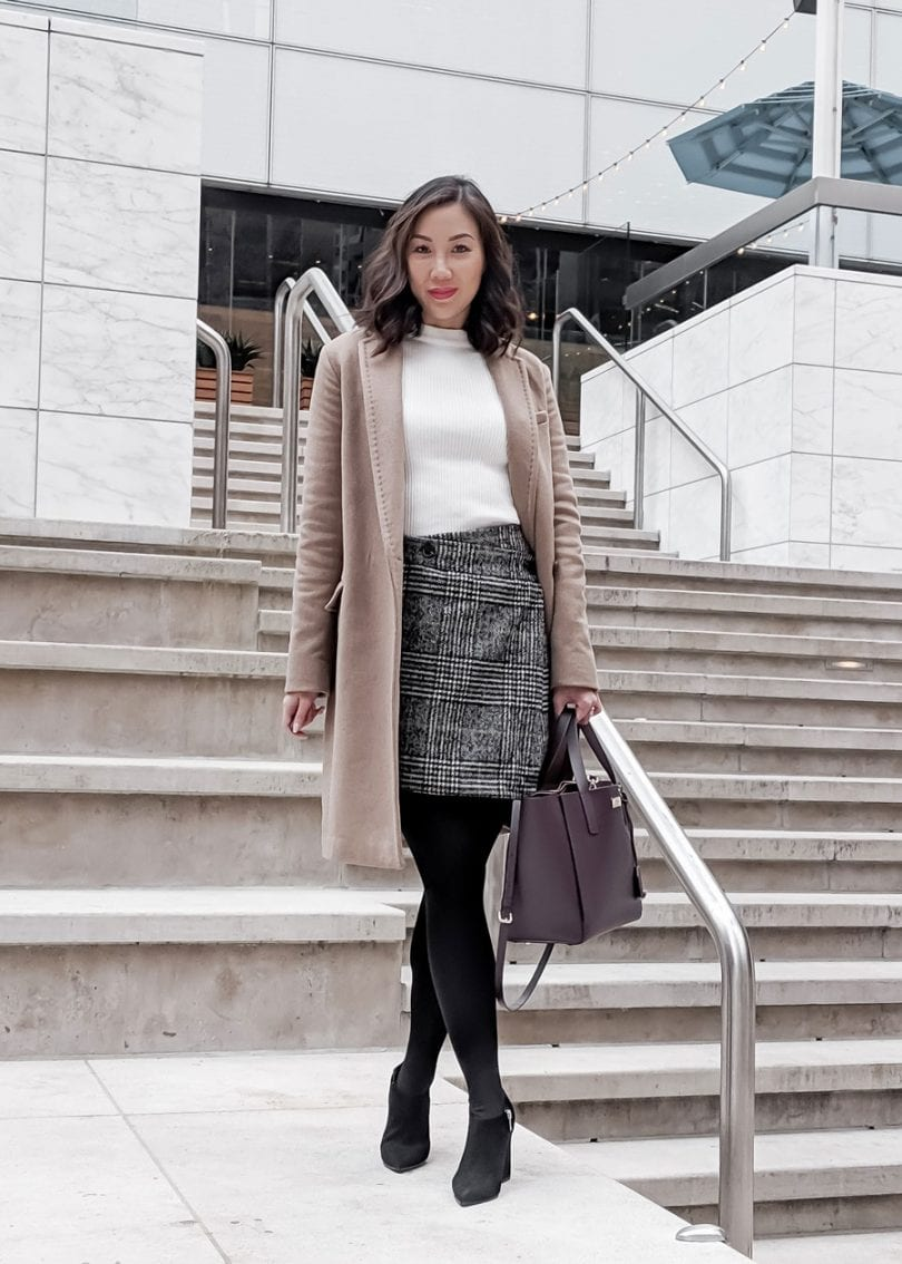 OOTD: office wear - checkered skirt and long camel coat Aritzia, black ankle boots, Kate Spade bag