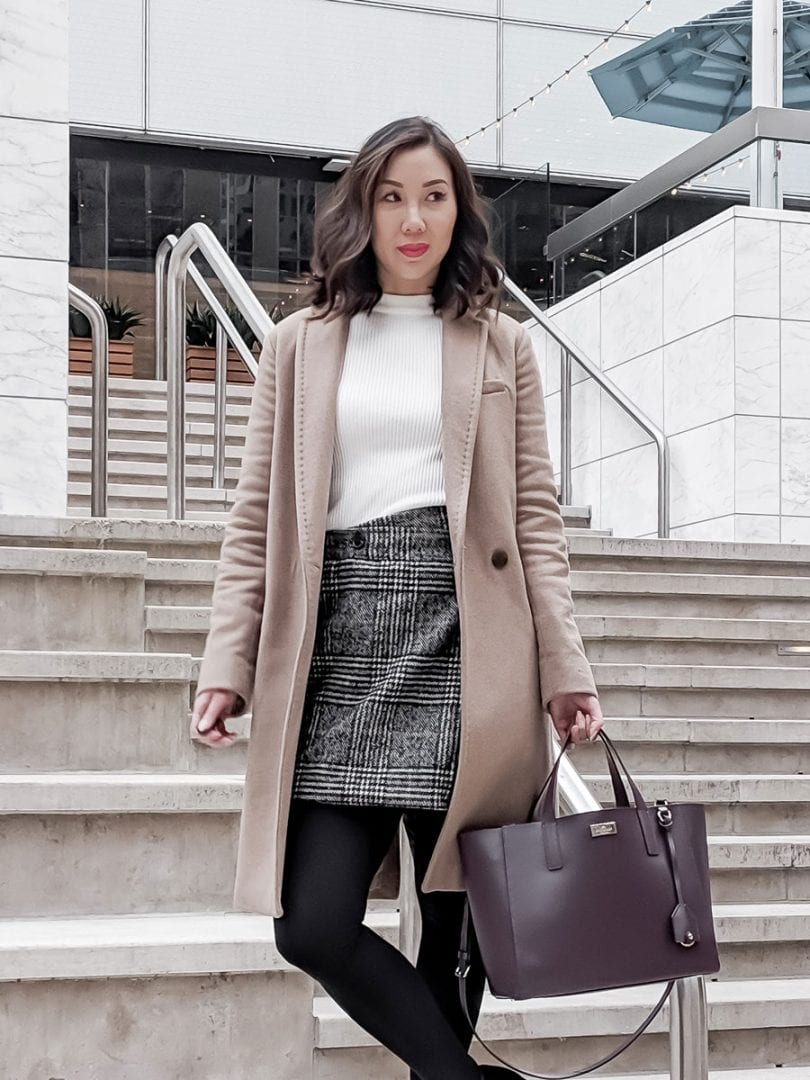 Work wear OOTD - Tan wool coat Aritzia, checkered skirt, black ankle boots