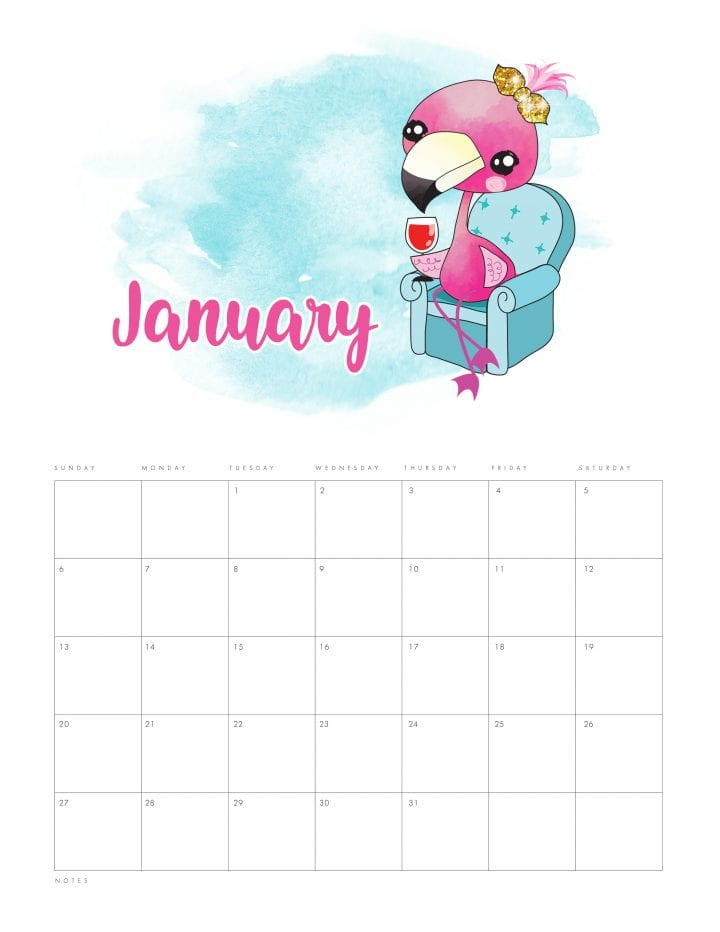 image relating to Cute Calendars identify 20 Absolutely free Printable Calendars for 2019 - YesMissy