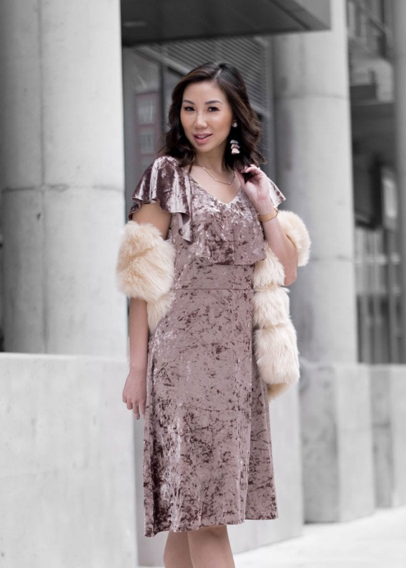 #OOTD - Pink crushed velvet dress from Alison Sheri - Toronto Style Blogger YesMissy