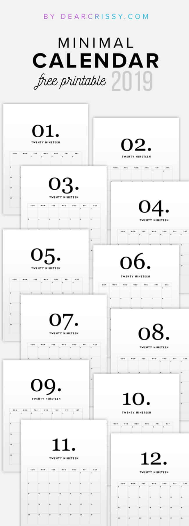 image about Printable Calendar Free named 20 Cost-free Printable Calendars for 2019 - YesMissy