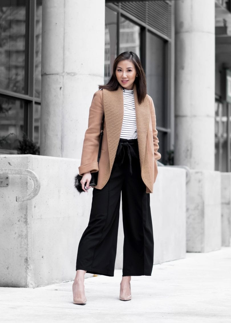 Workwear chic look: wool coat with striped turtleneck and culottes