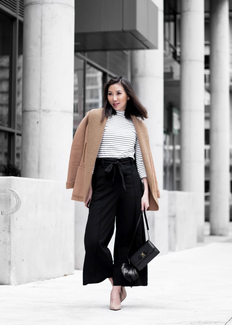 Fall/Winter #OOTD: tan wool coat by Mackage, striped turtle neck, black culottes, Ferragamo bag