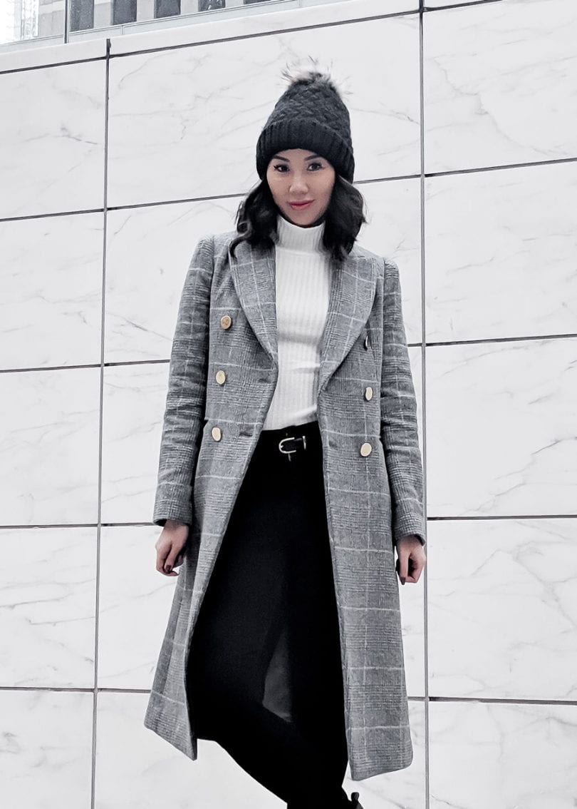 Fall Winter OOTD - checkered wool coat black beanie, Toronto Style Blogger YesMissy