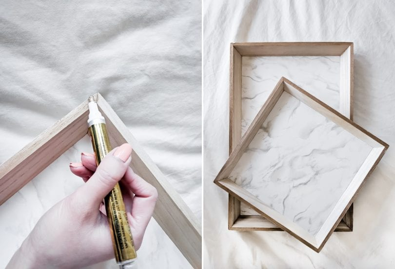 DIY Tray Tutorial Step 3 - appying the gold trim