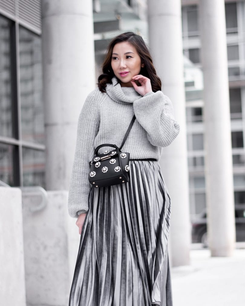 Style post: Velvet pleated skirt, grey sweater,Zac Posen mini bag