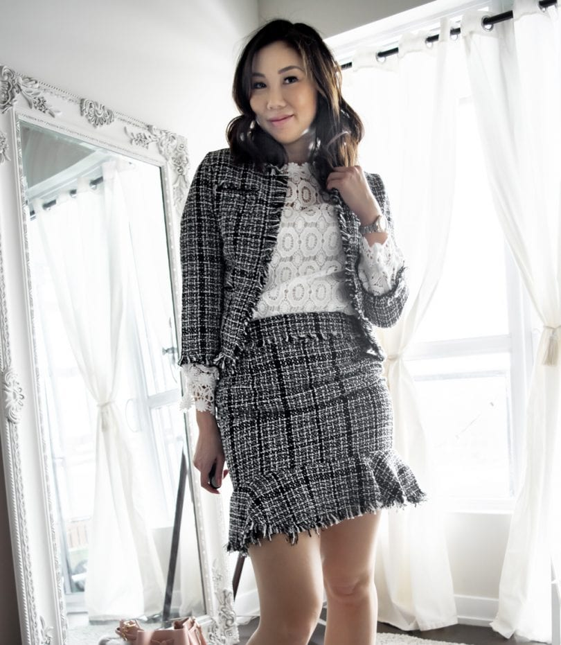 Tweed outfit set with skirt and blazer