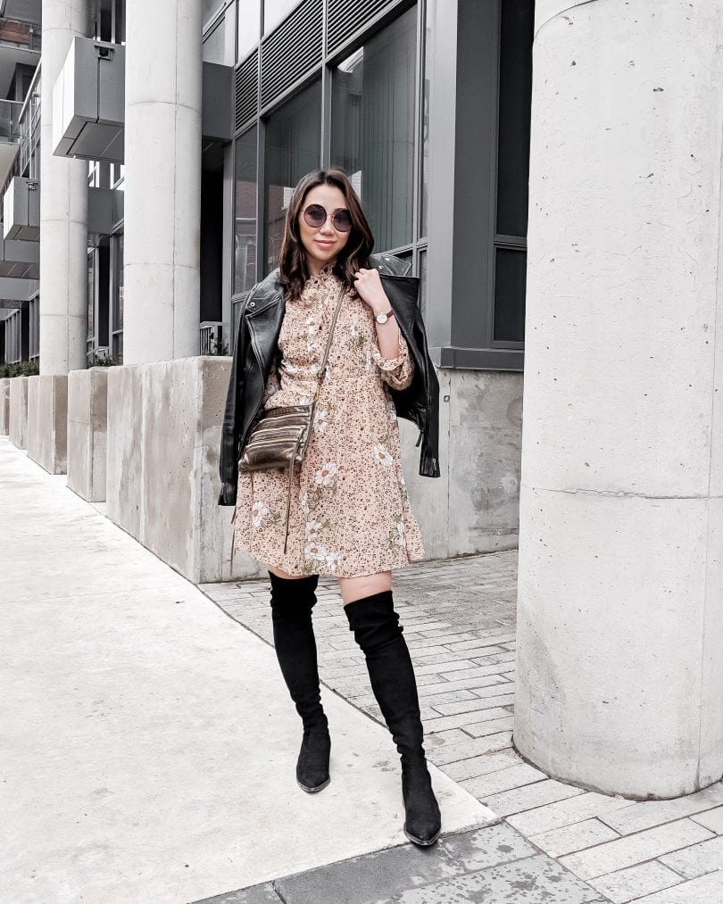 Toronto Streetstyle: leather jacket, animal print dress, OTK boots. Fashion blogger YesMissy