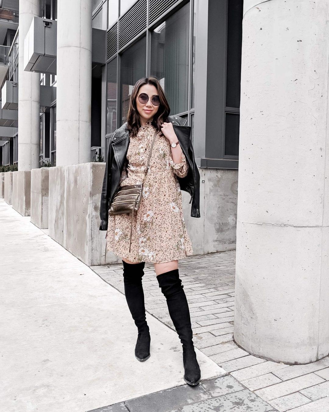 Toronto Streetstyle: leather jacket, animal print dress, OTK boots. Fashion blogger YesMissy