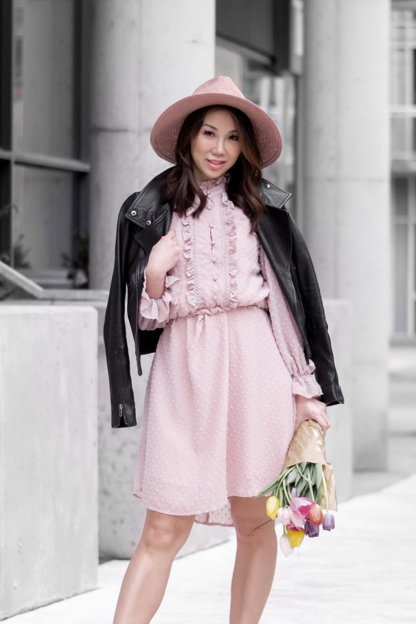 Spring/Summer outfit - Pink dress and leather jacket