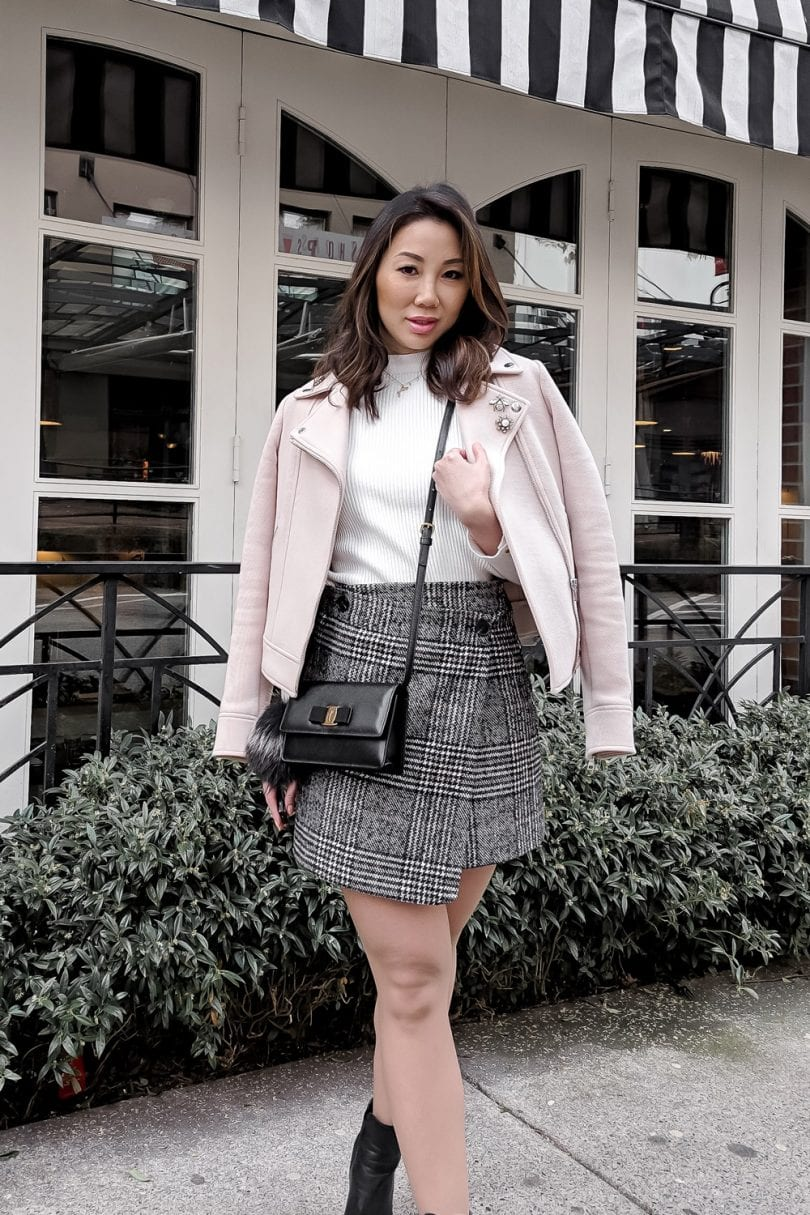 Spring lookbook: Casual outfit with checkered skirt and pink moto jacket