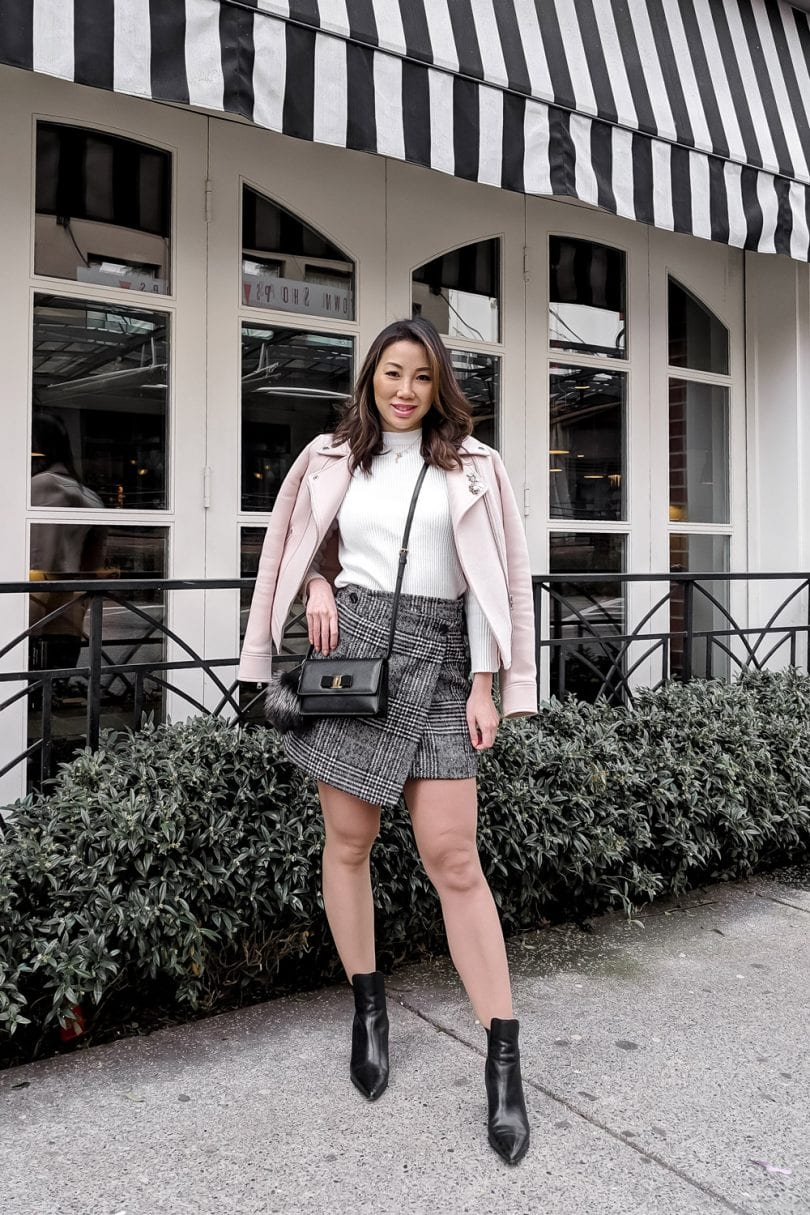 Spring #OOTD - love this asymmetrical checkered skirt