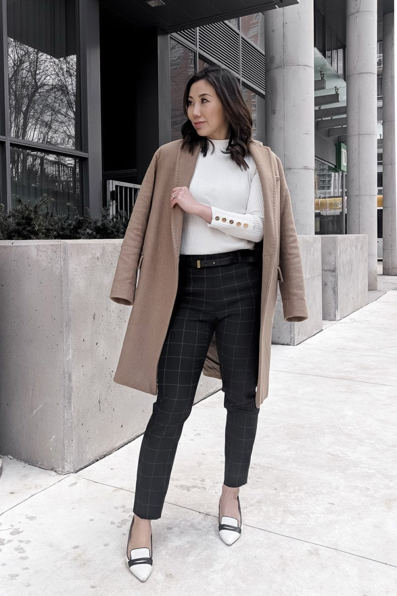 Office Outfit - checked pants, camel coat, white pumps