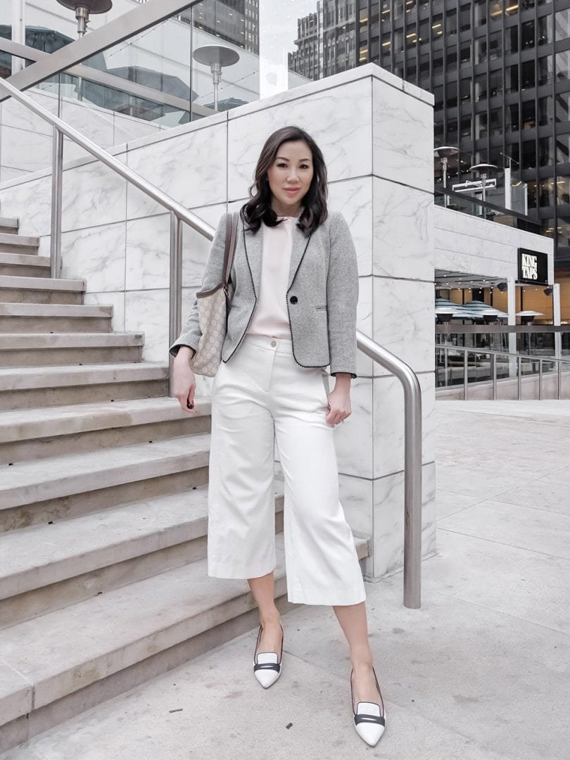 Workwear look - gray blazer, white culottes,