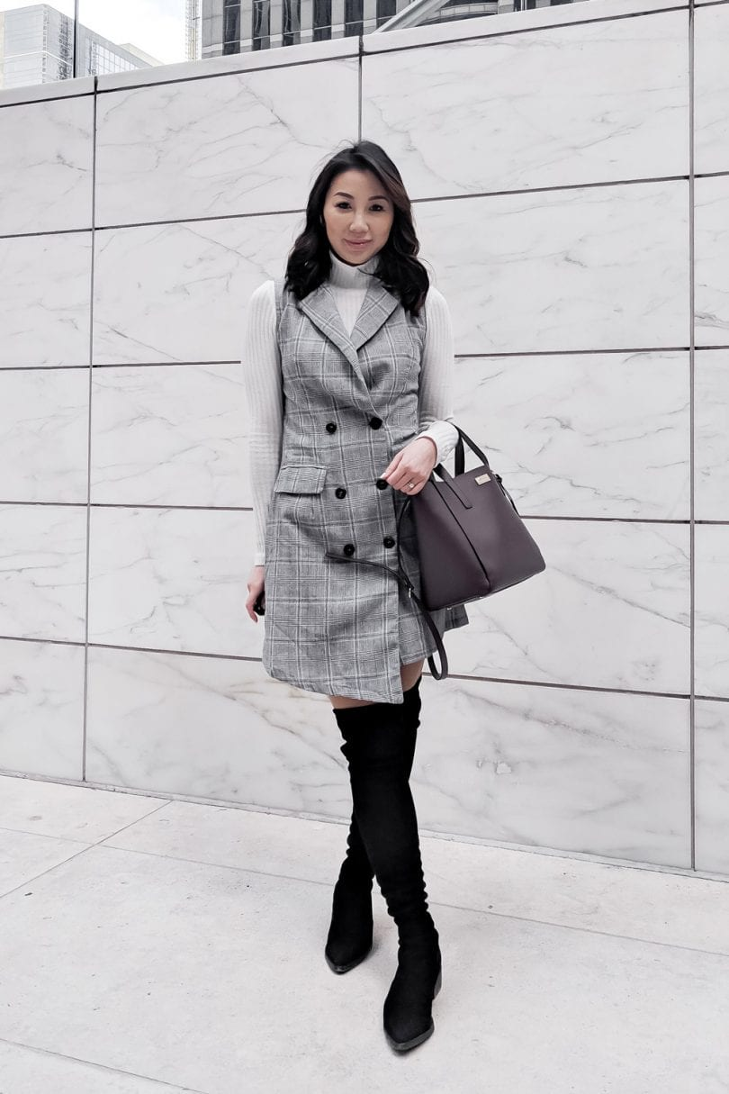 Office Outfit - Checkered vest dress, OTK black boots