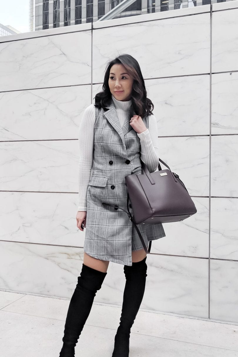 Office Look - Checkered dress, white turtleneck and OTK Boots