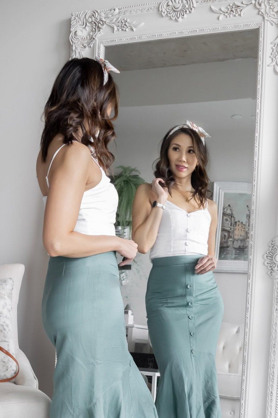 fishtail skirt and button cami - Toronto Fashion Blogger