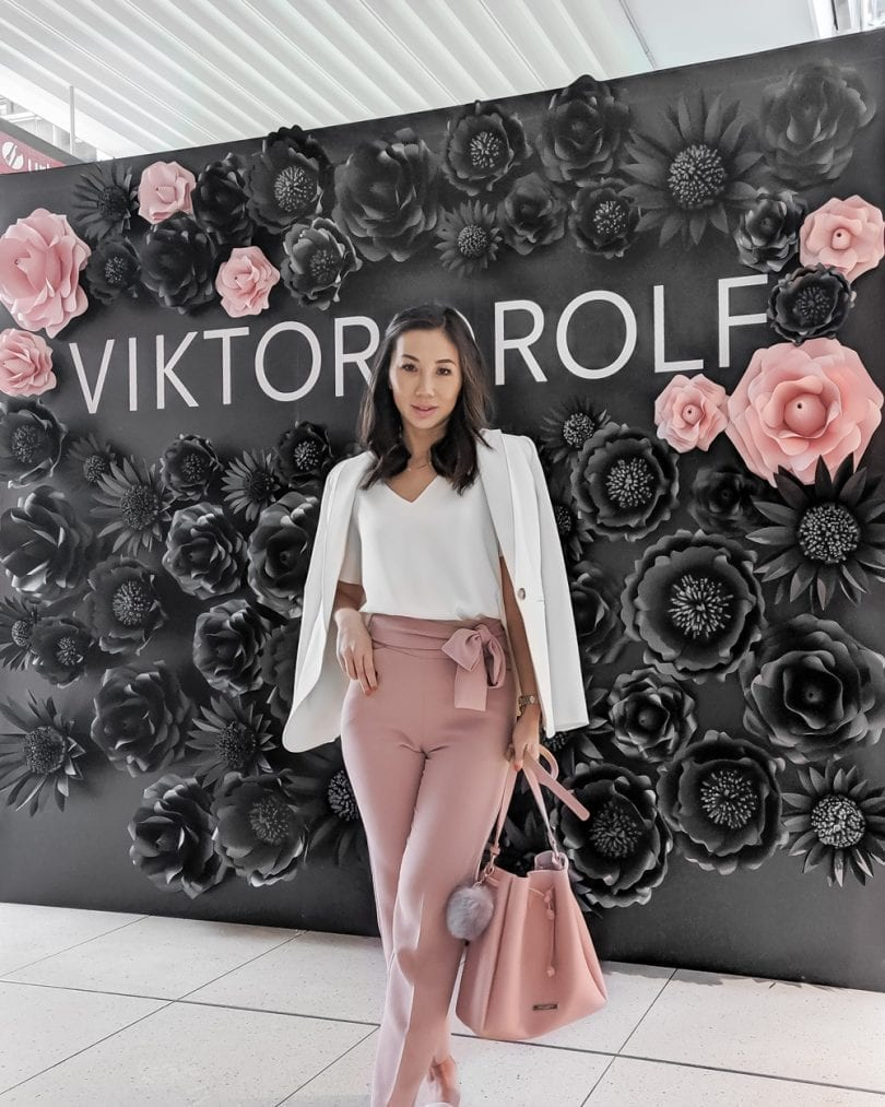 Viktor & Rolf Event - Pink pants, white blouse, white blazer, pink bucket bag