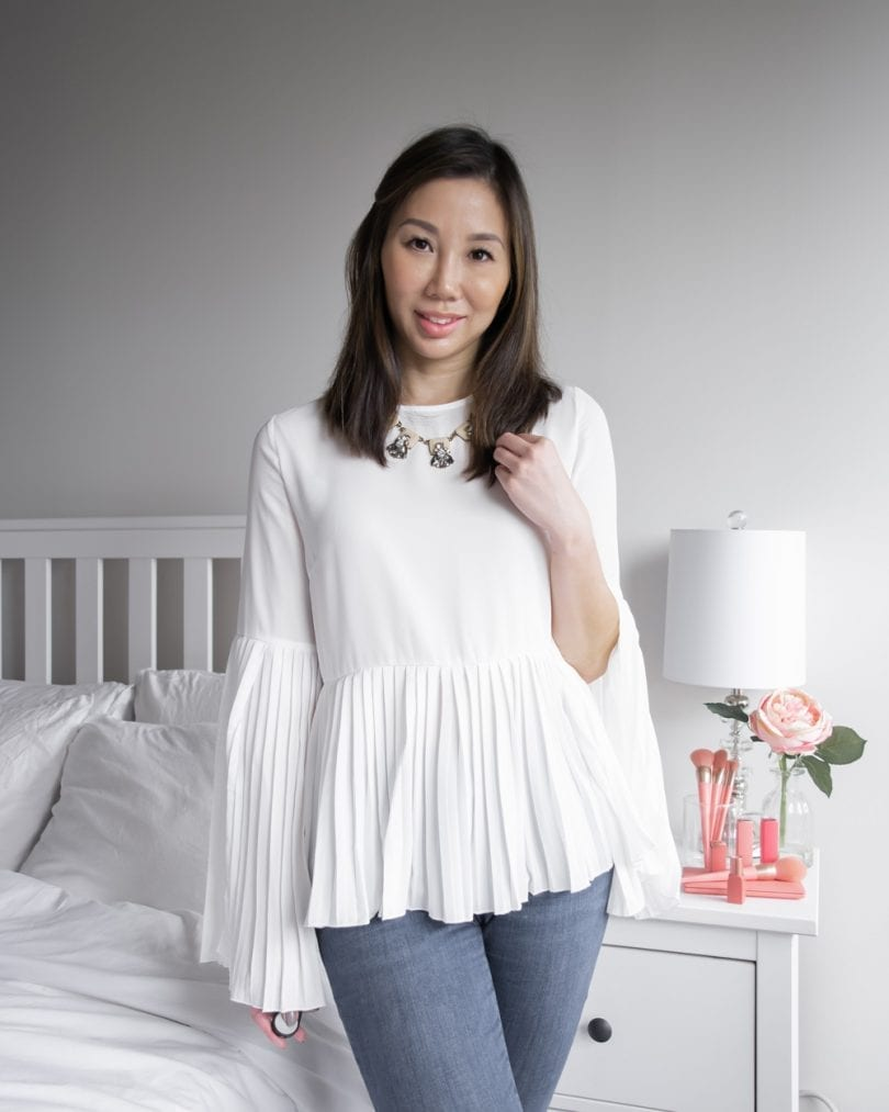 OOTD lookbook - white pleated blouse and jeans
