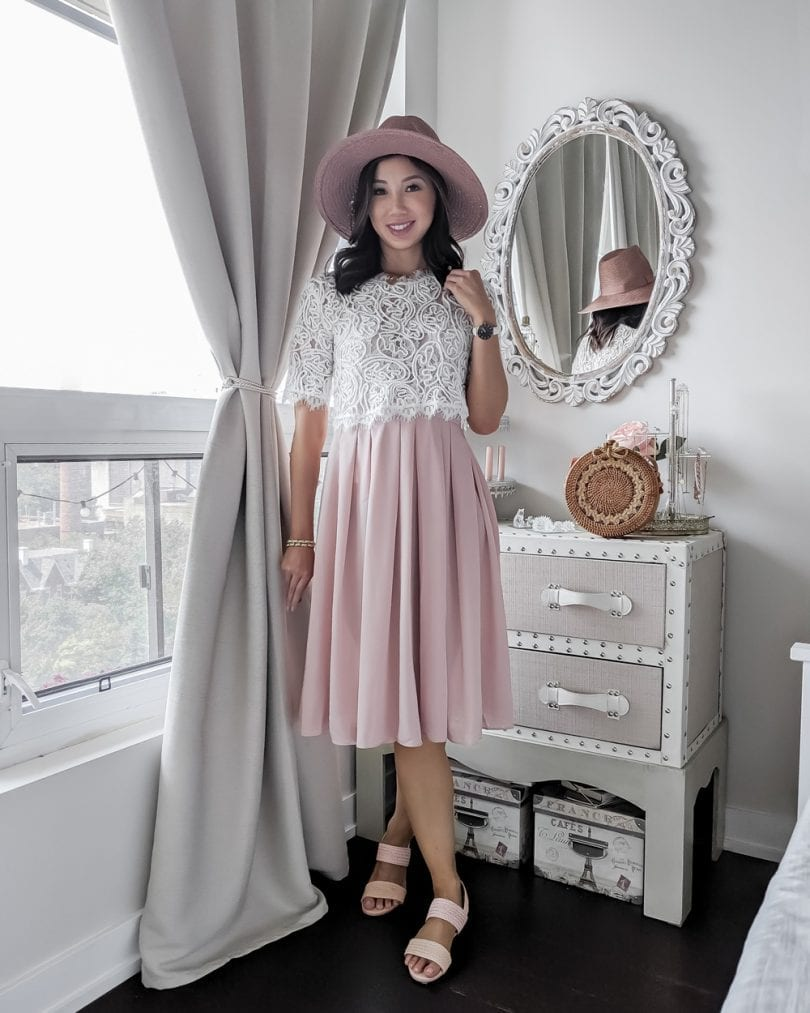 Summer OOTD lookbook - OOTD lookbook - Pink Skirt & Lace Top